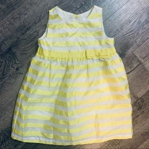 Gymboree Yellow & White Lined Dress Dressed Up
